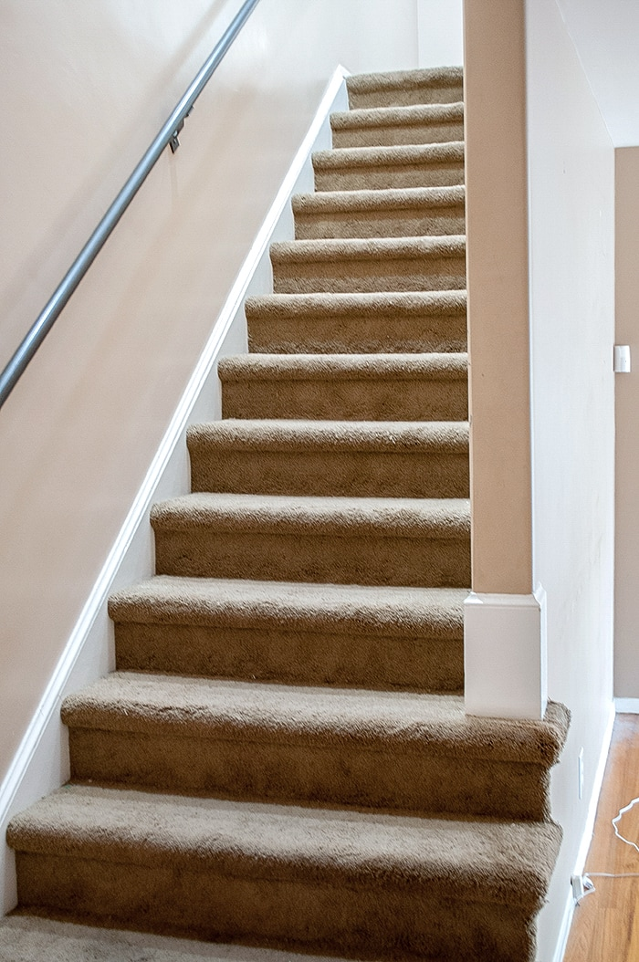 DIY staircase makeover from carpet to wood! Get ready to blow your mind!