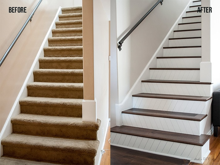 DIY Staircase makeover - Easy way to paint and update your stairs