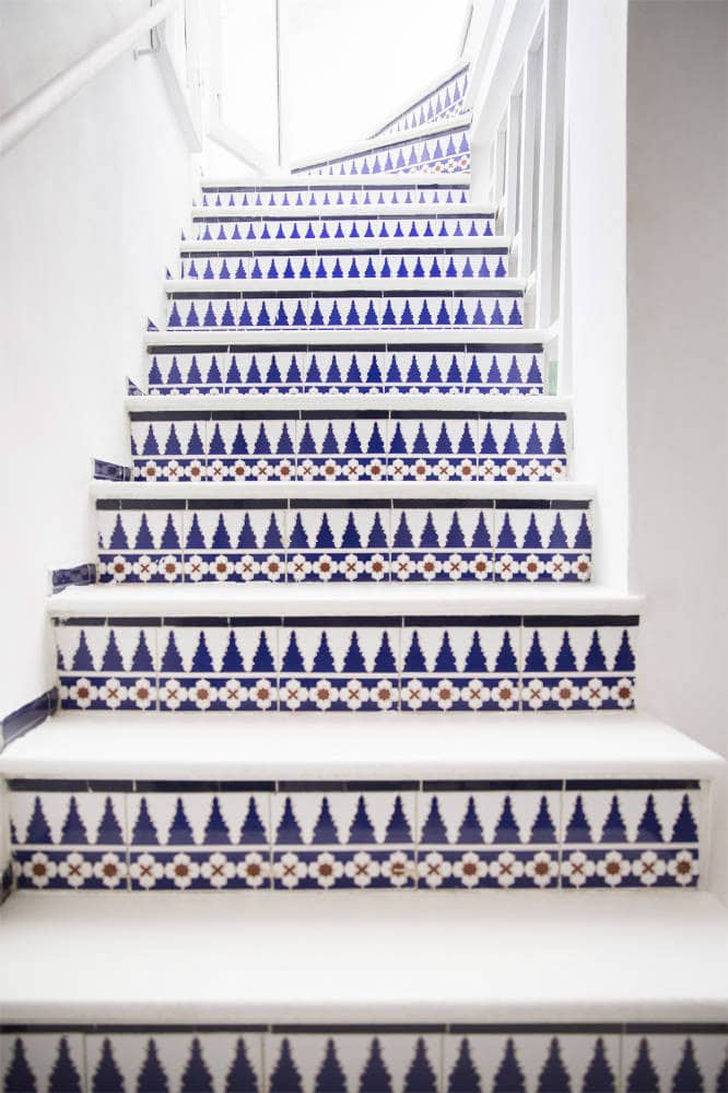 Stair case update with tile