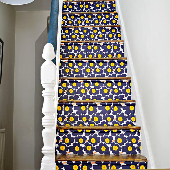 Wallpapered staircase makeover idea | DIY staircase makeover inspiration and ideas