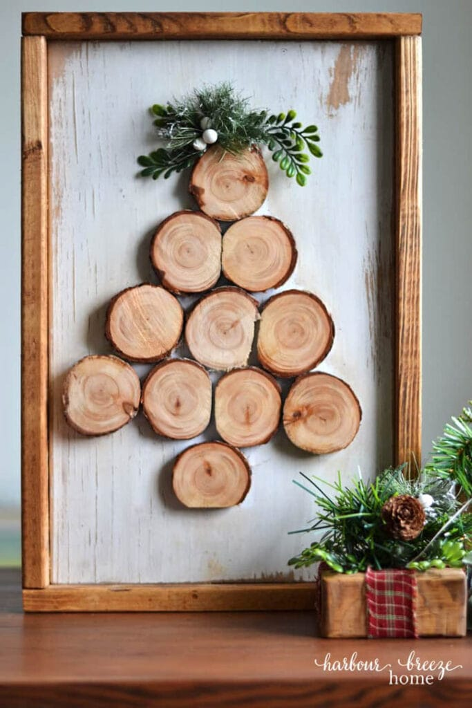 Wood slice tree in frame