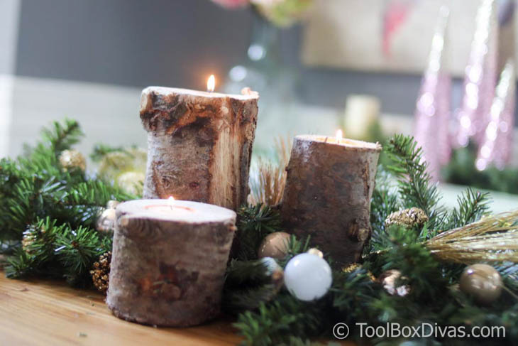 Tea light candle holders made from logs