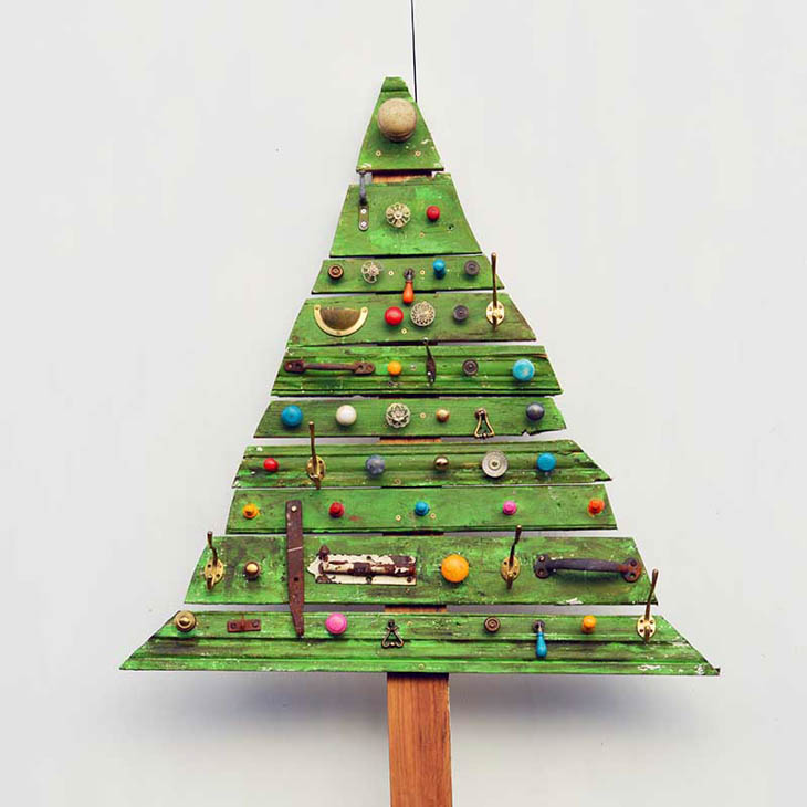 Green Christmas tree made from architectural salvage