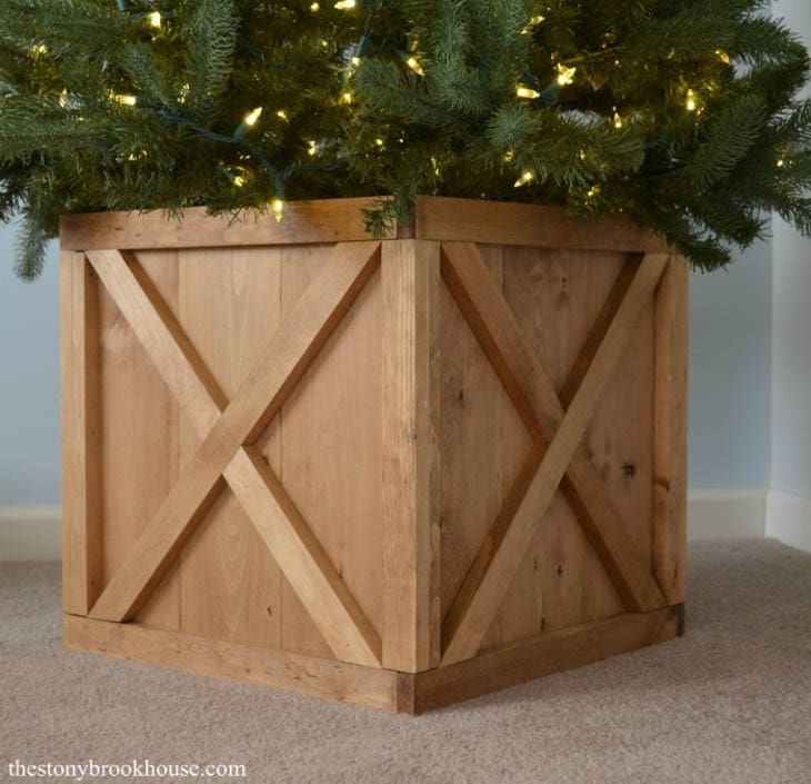 Wood Christmas tree stand box