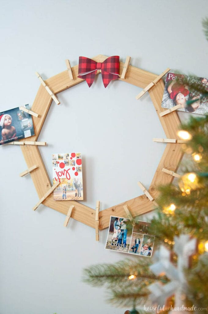 wood wreath Christmas card holder
