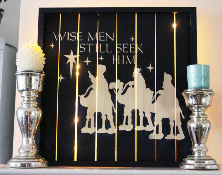 Three wisemen lighted wood wall decor