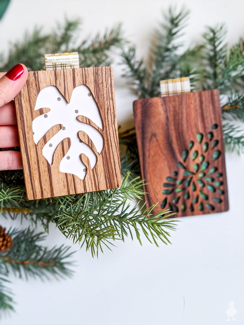 close up of wood gift card holders