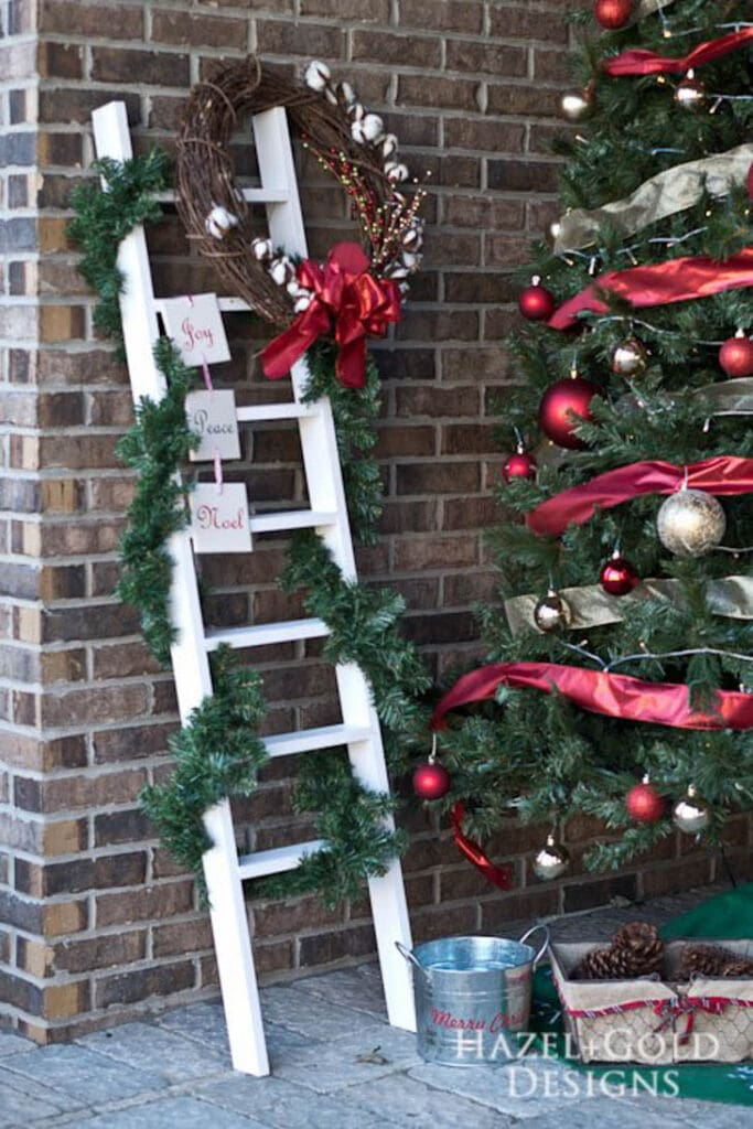 Wooden Ladder decorated in garland