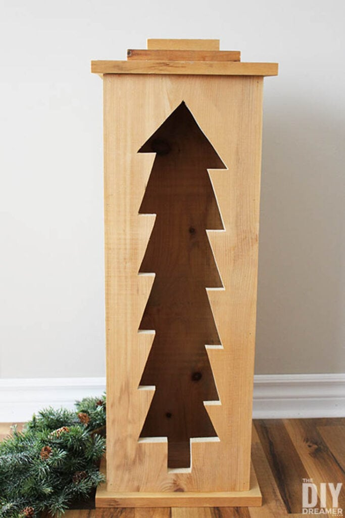 Wooden Christmas indoor/outdoor lantern with Christmas tree cutout