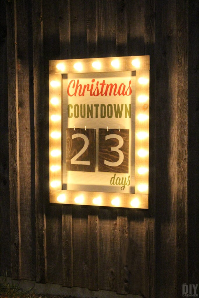 Lighted wooden Christmas countdown sign