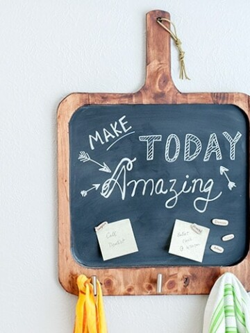 Make an easy DIY magnetic chalkboard for the kitchen with basic tools. This multifunctional board is perfect to write inspirational quotes, add reminders and also for meal planning!