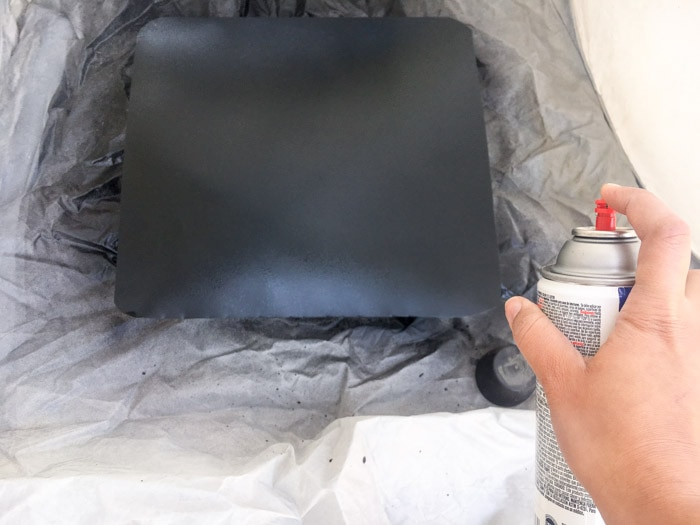 Spray Painting galvanized metal with chalk board paint