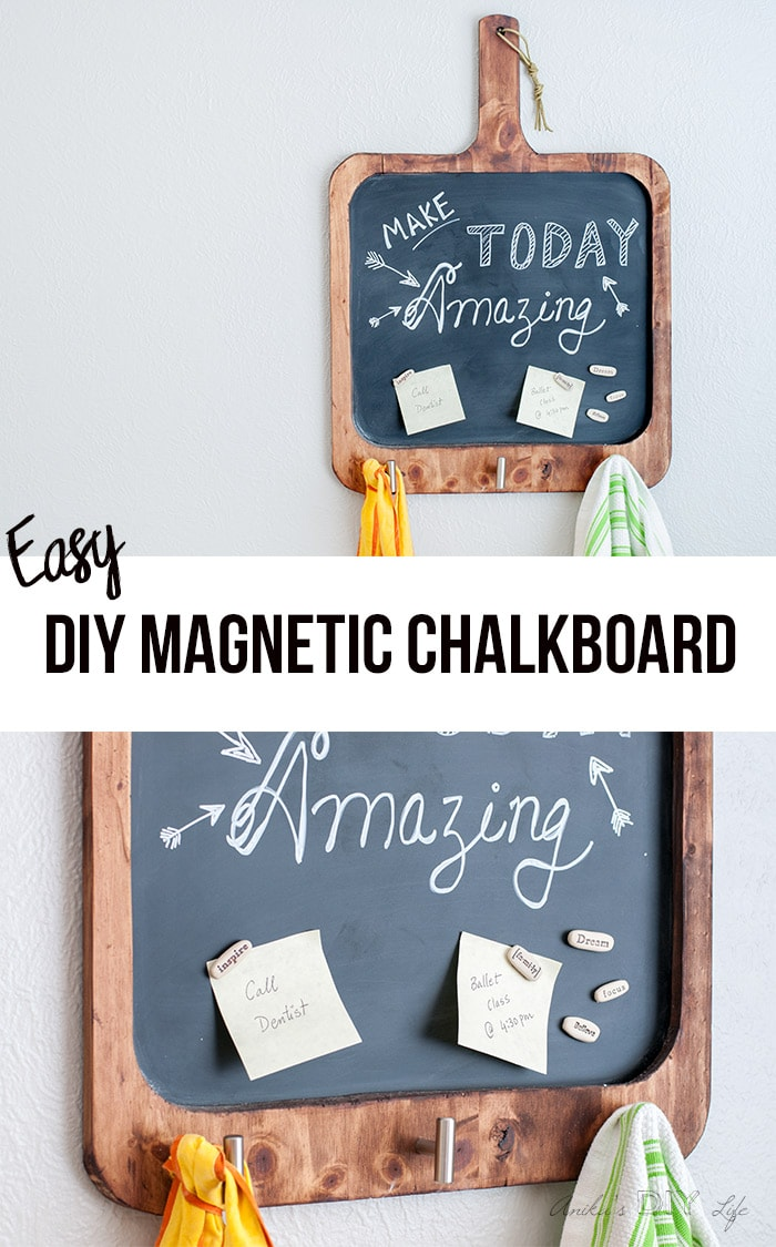 Make an easy DIY magnetic chalkboard for the kitchen with basic tools. This multifunctional board is perfect to write inspirational quotes, add reminders and also for meal planning! Plus has space to hang kitchen towels, aprons etc.