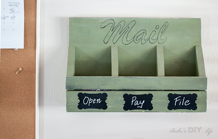 Green DIY Mail Organizer on Wall