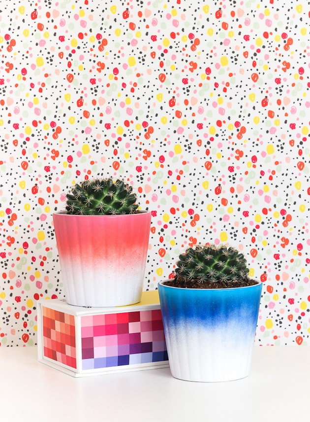 Ikea planters spray painted ombre