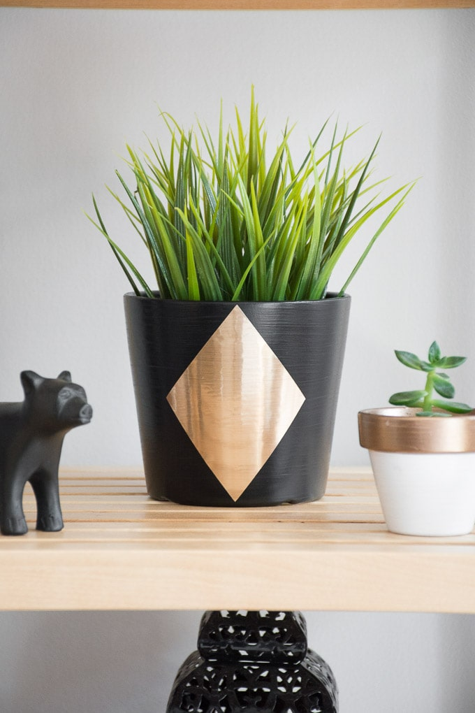 Painted Ikea planter in black and gold