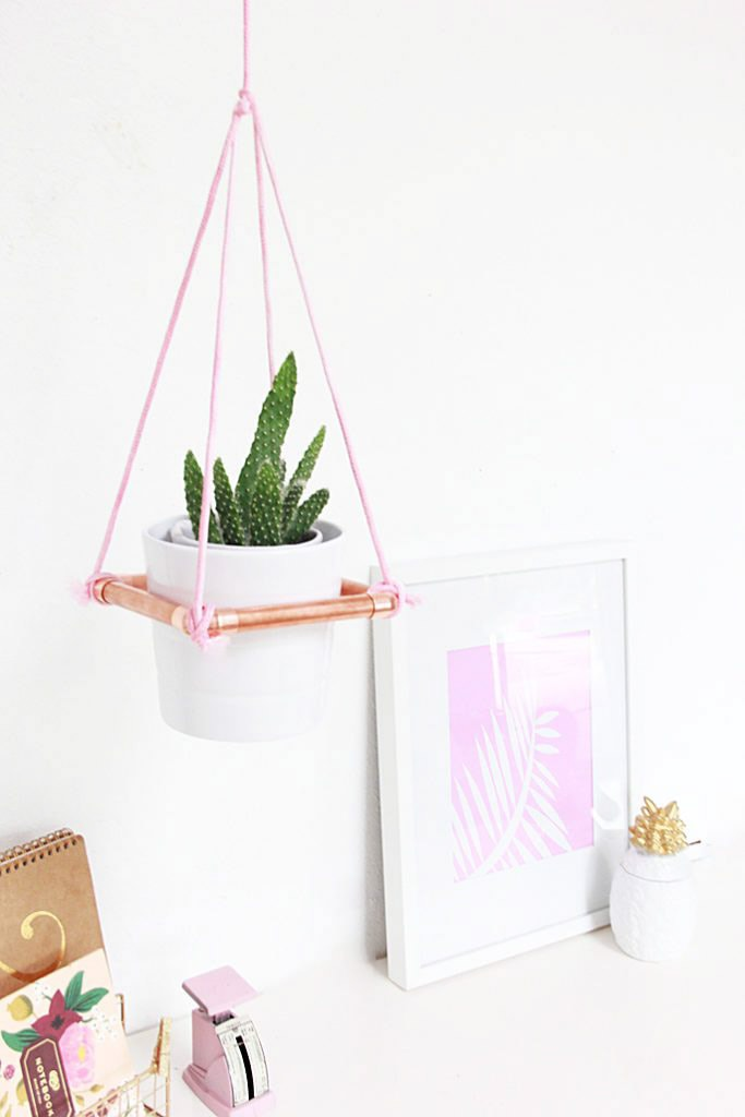 Hanging copper plant stand with Ikea planter