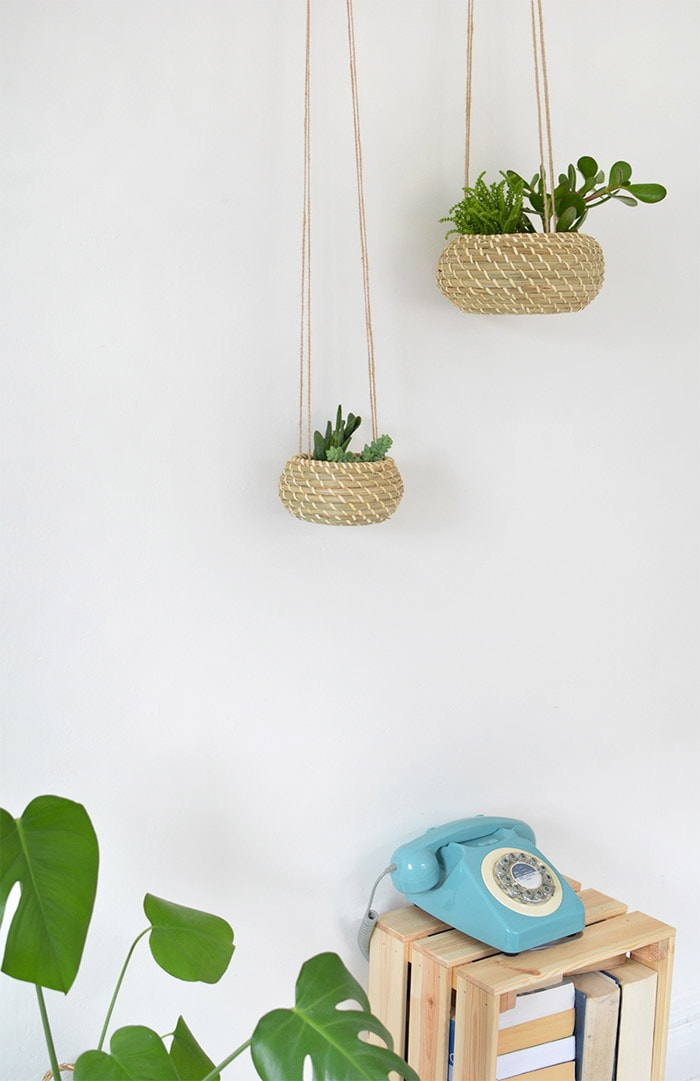 DIY hanging Ikea seagrass planters