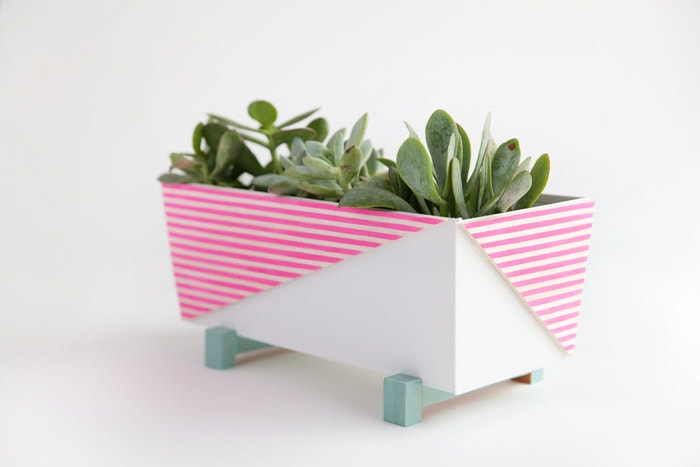 Simple modern Ikea planter makeover using washi tape