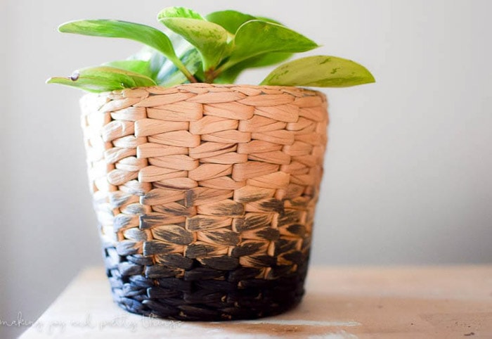 Ikea basket planter painted ombre