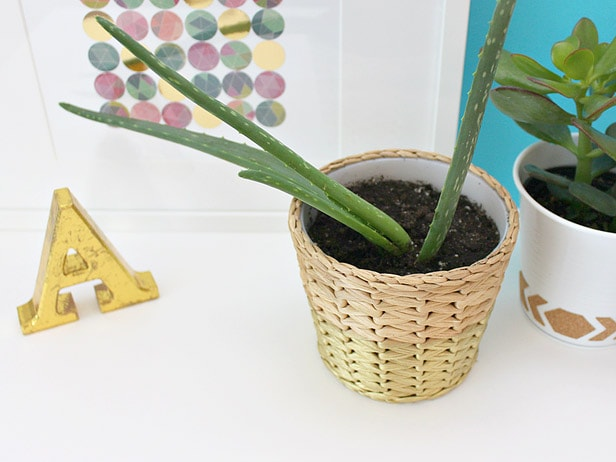 Ikea planter makeover with gold spray paint