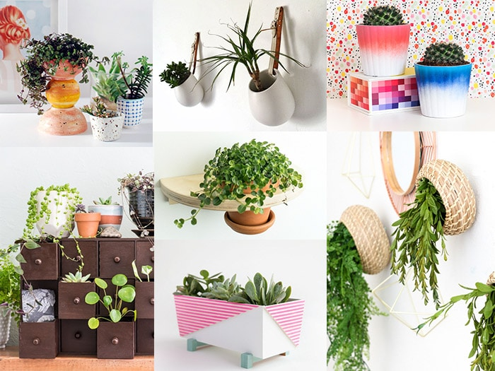 Collage of Ikea hacks for plants.