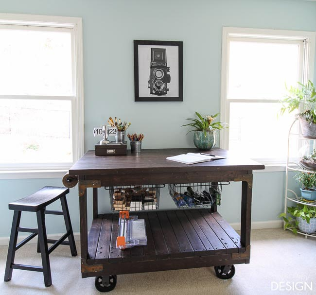 dark brown craft table cart made from 2x4 wood