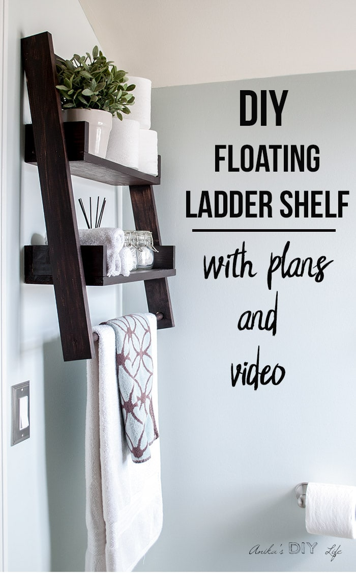 DIY floating ladder shelf with text overlay