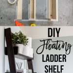 Collage of DIY ladder shelf with in progress shelf and text overlay