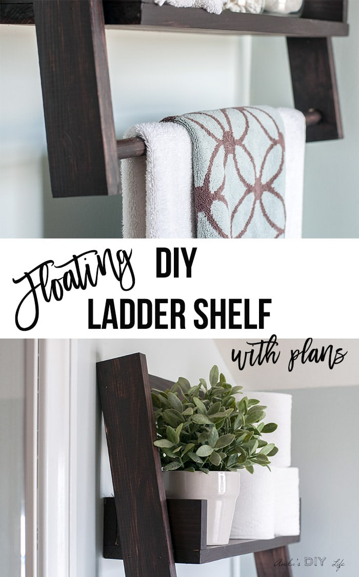 collage of various views of the DIY floating ladder shelf with text