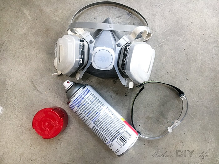 Safety equipment for spray painting. A ventilator and safety glasses