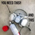 spray paint can with ventilator and safety glasses