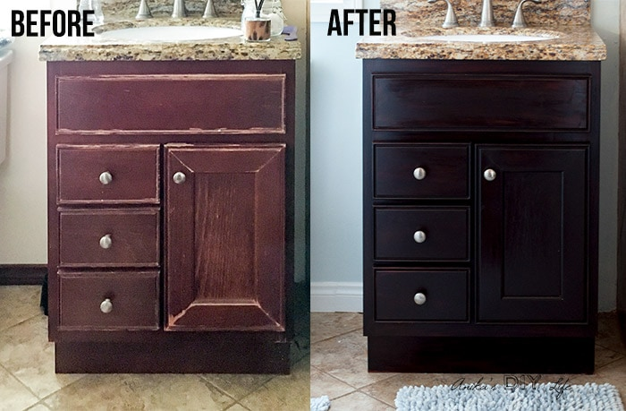 How To Use Gel Stain Update Cabinets Without Sanding Anika S Diy Rh Anikasdiylife Com Refinish Wood Stenciling