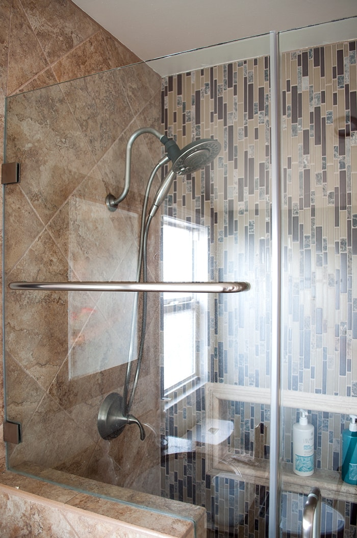 ... Beige And Brown Shower Stall In A Small Bathroom Remodel