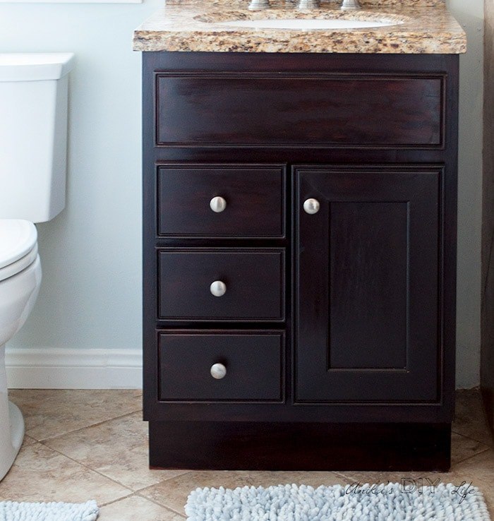 Re-stained cabinets using gel stain