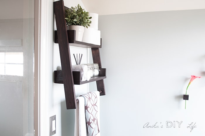 DIY floating ladder shelf on the wall