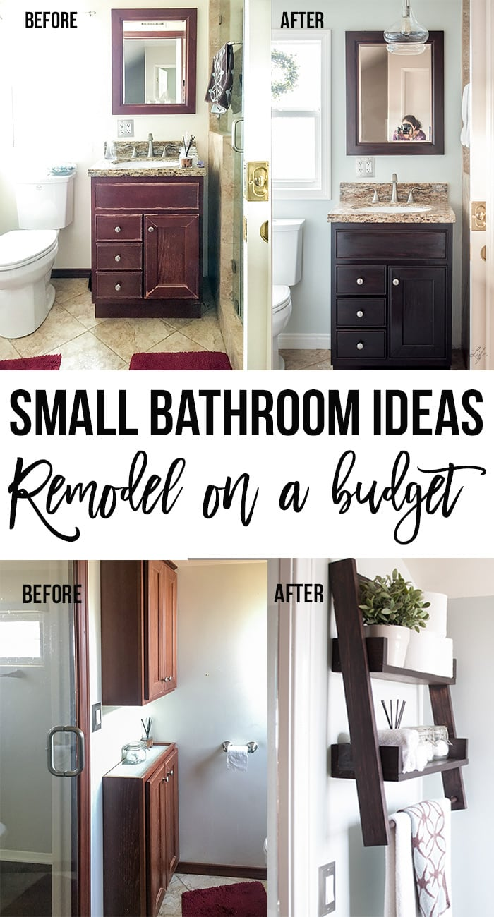 Small bathroom remodel before and after collage with text overlay