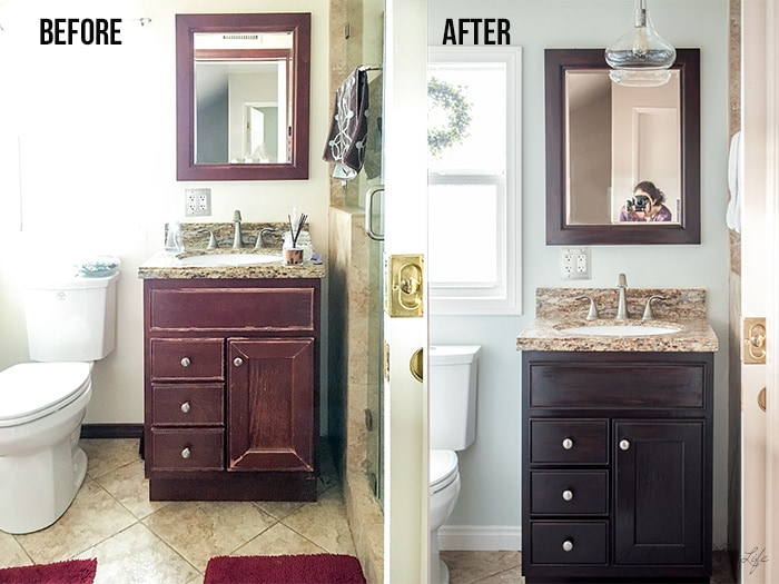 Before and after comparison of the small bathroom remodel.