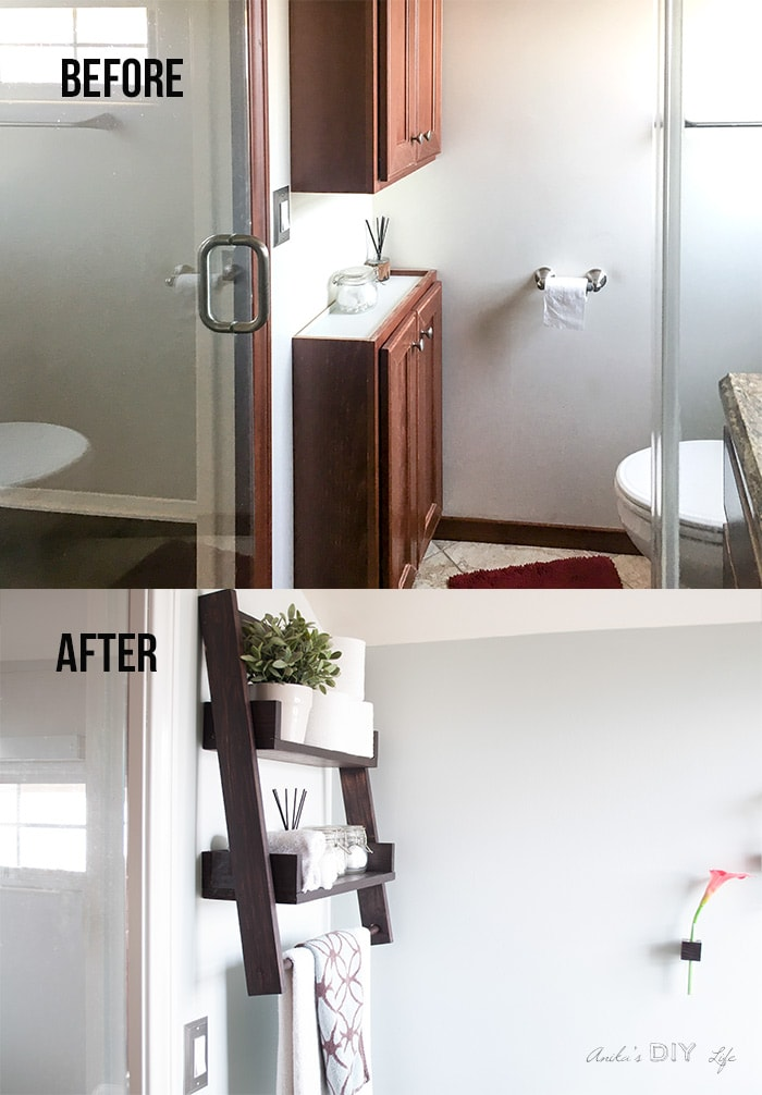 Before and after comparison of the wall with cabinets in the small bathroom remodel on a budget.
