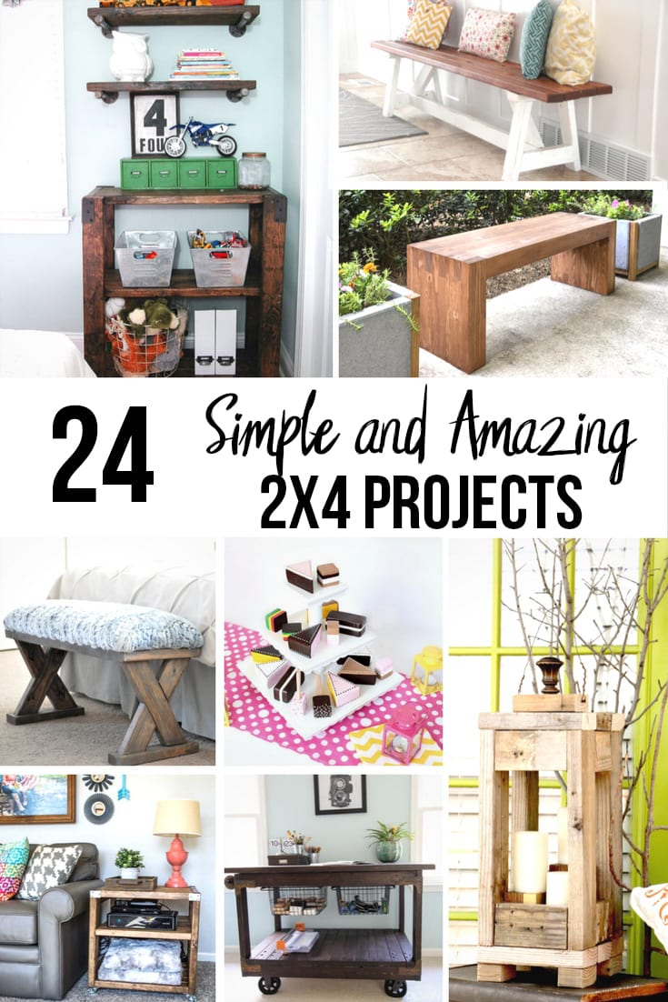 Large Collage Of Simple And Amazing 2x4 Wood Projects With Text Overlay