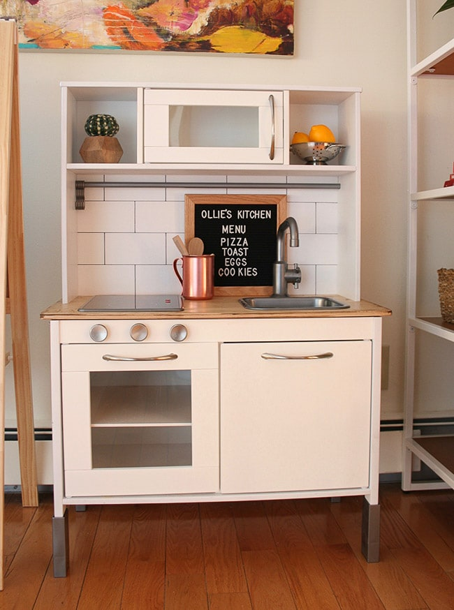 Ikea play kitchen makeover with subway tile