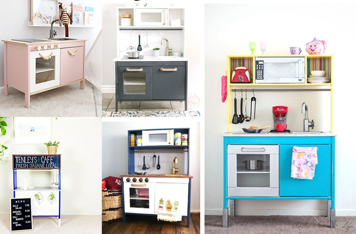 Collage of Ikea Duktig makeover ideas I love looking at Ikea play kitchen hacks!