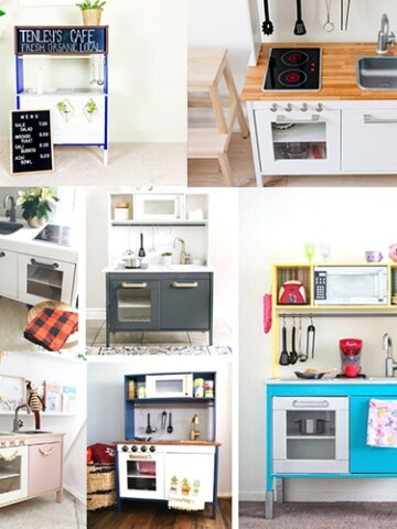 20 Fun Ikea play kitchen hacks and makeovers to inspire you to create a children's play kitchen they will love! Transform the plain Jane Ikea Duktig play kitchen to the play kitchen of their dreams! Discover your favorite way to add personality with these Ikea toy kitchen makeover ideas!
