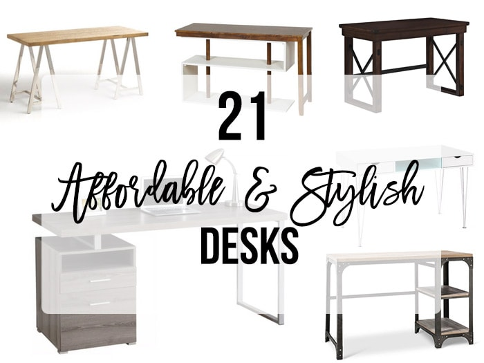 Affordable and stylish desk in a collage.