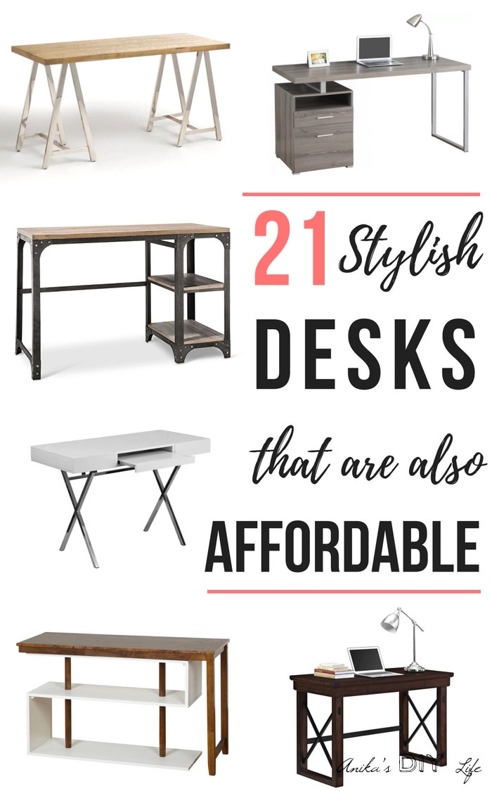 Affordable and stylish desks collage with text overlay