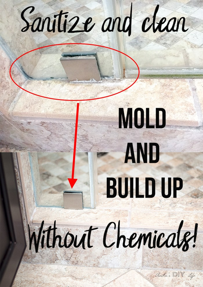 before and after comparison of how to clean mold and hard water build up
