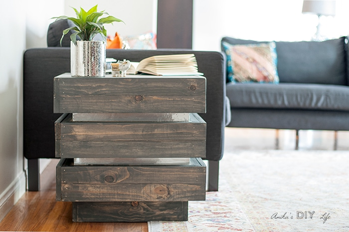 Side view of DIY tiered end table