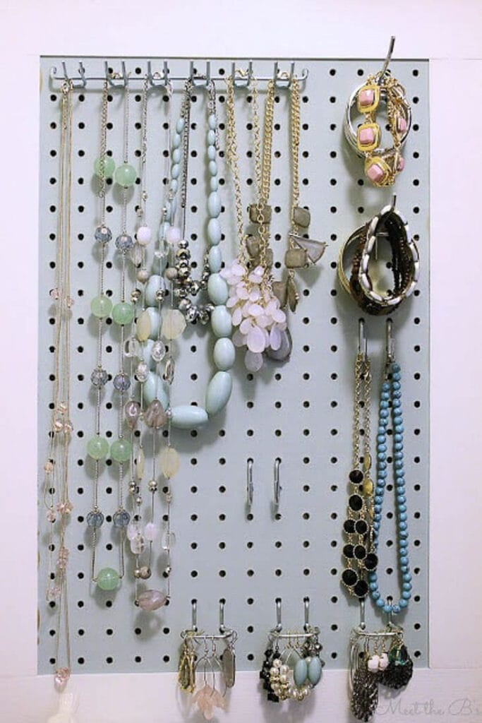 pegboard as a hanging jewelry organizer