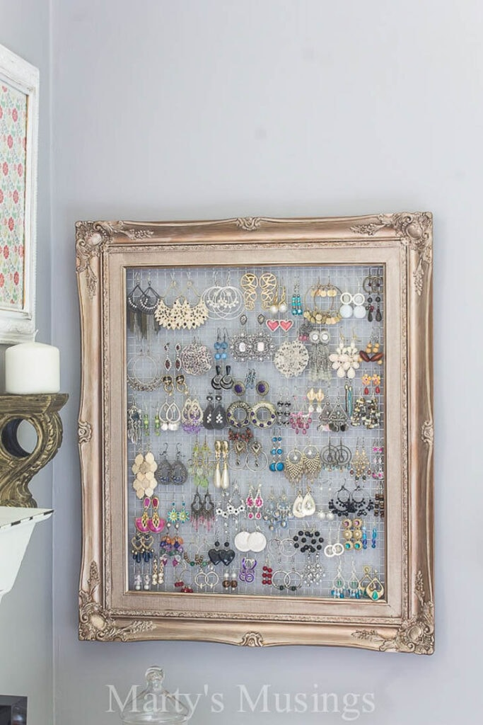 Victorian picture frame as a hanging jewelry organizer