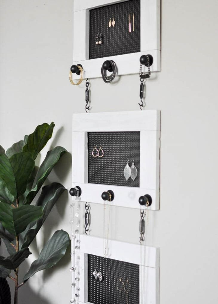 Black and white industrial 3 section hanging jewelry organizer